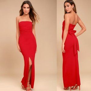 LULUS Own the Night Red Strapless Maxi Dress med